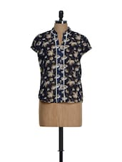 Navy Blue Printed Band Collar Top - Meee