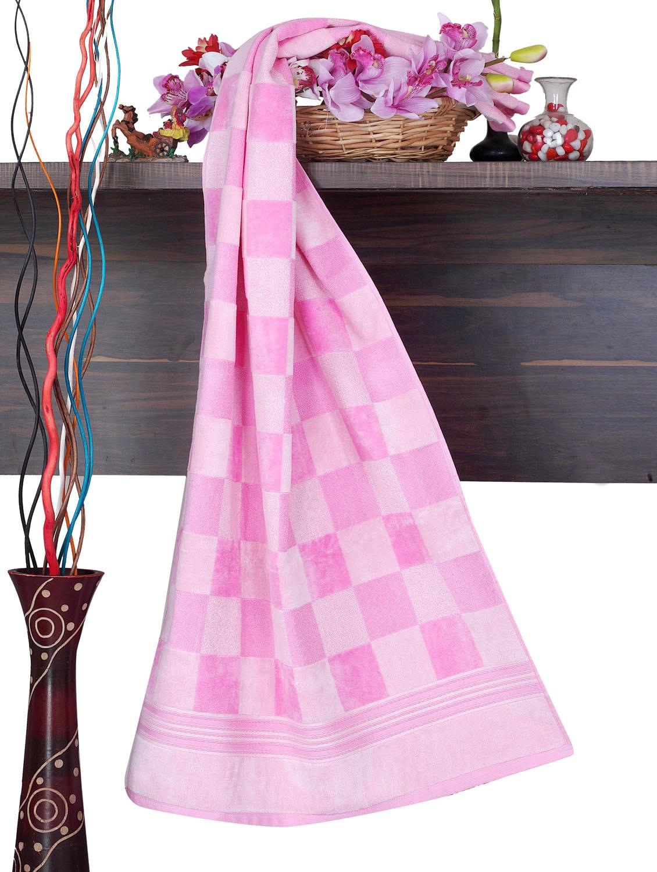 Pink Checkered Cotton Bath Towel - Aqua Pearl