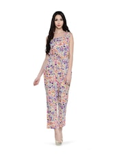 Beige Printed Floral Jumpsuit - Magnetic Designs