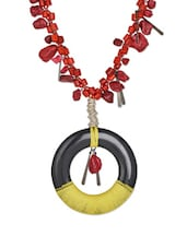 Unique Red Strand, Circular Base Necklace With Horn, Glass And Mud Bead Embellishments - ChicKraft