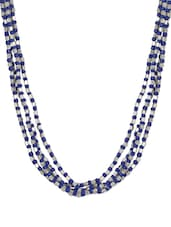 Blue And Silver Glass Beads Trendy Necklace With A Satin Ribbon Closure - ChicKraft