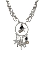 Trendy Silver Multi-strand Necklace With Black Glass Beads - ChicKraft