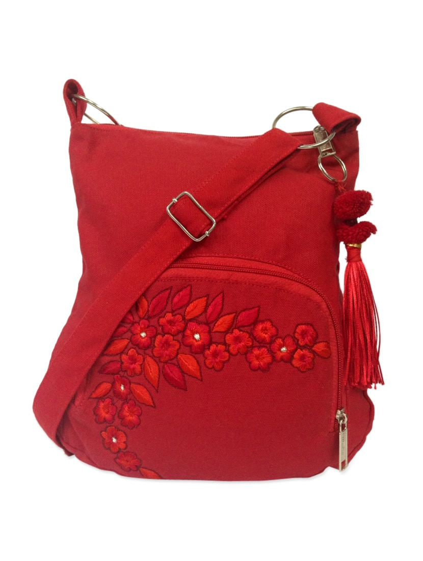 Buy Trendy Red Sling Bag With Floral Embroidery And Woolen Pom Pom ...