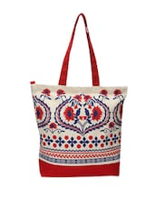 Gorgeous Red And White Floral Tote Bag - Pick Pocket