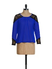 Lace Trim Blue Chiffon Top - MARTINI