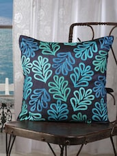 Blue Leaf Embroidered Cushion Covers (set Of 5) - Dekor World