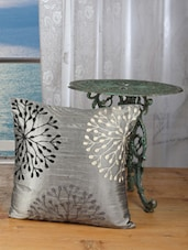Silver Glossy Circular Leaf Patterned Cushion Covers (set Of 5) - Dekor World