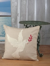 Beige Velvet Bird Patch Cushion Covers (set Of 2) - Dekor World