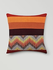 Set Of 2 Orange Chevron And Striped Cushion Covers - By