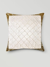Set Of 5 Quilted White And Gold Zari Cushion Covers - By