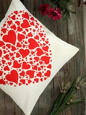 Cream Base Cushion Covers With Red Heart Prints (set Of 2) - Dekor World