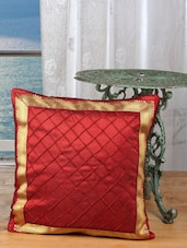 Red Pintek Lace Ethnic Cushion Cover(Pack Of 2) - Dekor World