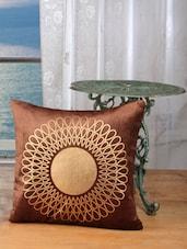 Brown Cotton Golden Print Cushion Cover (set Of 2) - Dekor World