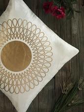 Cream Cotton Golden Print Cushion Cover (set Of 2) - Dekor World