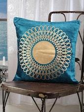 Blue Cotton Golden Print Cushion Cover (set Of 2) - Dekor World