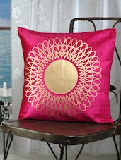Fuchsia Pink Cotton Golden Print Cushion Cover (set Of 2) - Dekor World