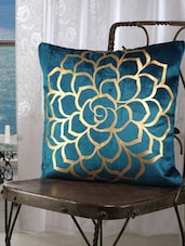 Turquoise Blue Cotton Golden Rose Print Cushion Cover (set Of 2) - Dekor World