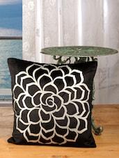 Bold Black Cotton Golden Rose Print Cushion Cover (set Of 2) - Dekor World