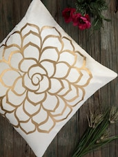 Cream Cotton Golden Rose Print Cushion Cover (set Of 2) - Dekor World