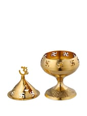 Traditional Brass Diya With Om And Swastik Design - Dekor World