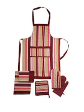 Multi-coloured Striped Apron Combo. Set Of 6 Pieces - Dekor World