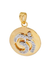 Stylish Gold Om Pendant With Metal Alloy And Crystals - Maayra