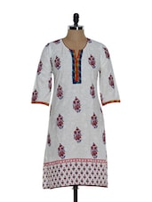 White Cotton Kurta With Block Print - Tanisi