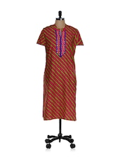 Printed Pink Kurta With Green Stripes - Tanisi