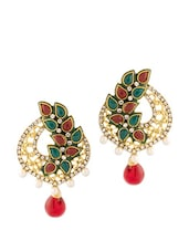 Earrings Embellished With Green And Red Stones - Voylla