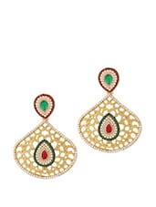 Earrings Studded With Red And Green Stones - Voylla