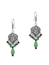 Earrings With Green And Maroon Beads - Voylla