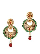Classic Earrings With Green Stones And Drops - Voylla
