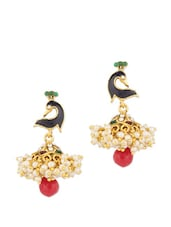 Meenakari Embellished Earrings With Gold Plating And Pearl Beads - Voylla