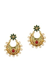 Traditional Pair Of Dangler Earrings Adorned With  Pearls And Colored Stones - Voylla