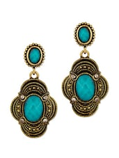 Floral Inspired Dangler Earrings With Blue Stones - Voylla
