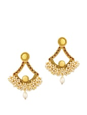 Gold Plated Pair Of Earrings Adorned With Pearls And Red Stones - Voylla