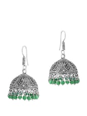 Enthralling Pair Of Jhumki Earrings With Green Color Beads - Voylla