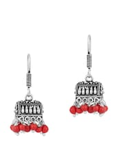 Enthralling Pair Of Small Jhumki Earrings In Box Shape With Red Color Beads - Voylla