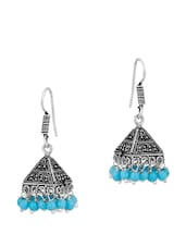 Pyramid Shape Pair Of Jhumki Earrings With Blue Stones - Voylla