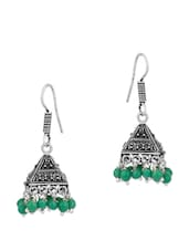 Pair Of Jhumki Earrings In Pyramid Shape Adorned With Green Beads - Voylla