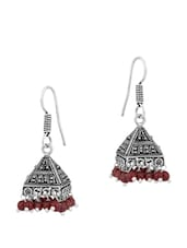 Precious Pair Of Jhumki Earrings In Pyramid Shape Embellished With Brown Beads - Voylla