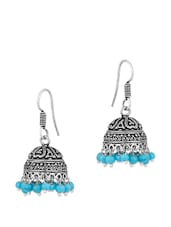 Luscious Pair Of Jhumki Earrings In Dome Shape Embedded With Blue Beads - Voylla