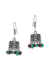 Dome Shaped Earrings With Maroon And Green Colored Beads - Voylla