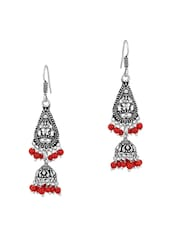 Jhumkis With Pear Shaped Motif And Red Beads - Voylla
