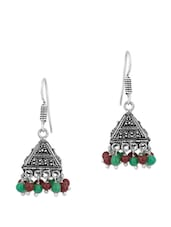 Endearing Jhumkis With Green And Brown Beads - Voylla