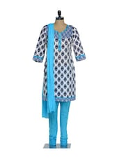 Set Of Blue And White Floral Print Kurta And Churidaar With Dupatta - KURTAWALA