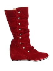Glamorous Red Suede Boots With Metallic Buttons - Stylistry