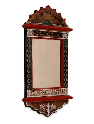 Warli Painted Wooden Wall Mirror