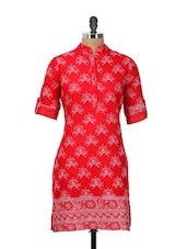 Bright Red Printed Kurti - Meira
