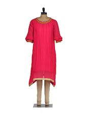 Fuchsia Pink Crushed Kurta With Embroidery On The Neck And Beige Lycra Churidaar - Nataasha Dubliish